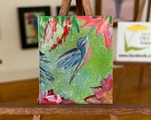Miniature Hummingbird Dollhouse Painting Original Art