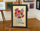 Dollhouse Art miniature garden flowers in a watering can painting