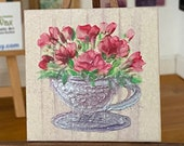 Modern miniature Dollhouse Art. Roses in a teacup abstract style