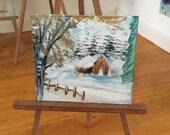 "Dolls House Original Art Winter Landscape Painting Snowy Ridge"" miniature art by miniature artist hazel rayfield"