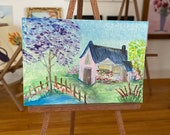DollHouse  wall Art Pond Cottage Countryside Landscape Painting Dollhouse Art 1:12th