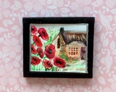 Poppy Cottage 1/24th dollhouse original art painting