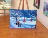 Miniature Ice Skating Winter Landscape Picture Original painting by Hazel Rayfield
