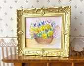 Miniature Gold Framed Dollhouse Picture. Yellow Roses and Iris original painting