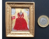 Dolls house period style red dress  Collectible Miniature Art framed 1:12
