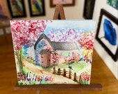 Miniature Cottage Countryside Landscape Painting Dollhouse Cherry Tree Lane Art 1:12th