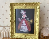 Lady Melanie  Painting Dolls house Vintage style Frame  Collectible Miniature Art framed