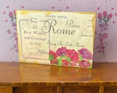 Vintage style Dollhouse shabby chic wall art. Postcard mixed media painting