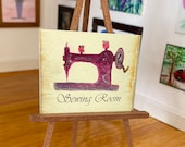Miniature Pink Vintage Sewing Machine Poster style art