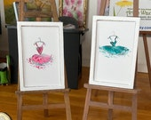Dollhouse modern miniature ballet tutu paintings. Set of two framed pictures