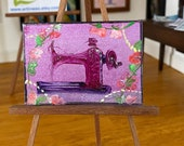 Sew Pretty ...... pink sewing machine  modern Miniature Dolls House Original Art  Landscape Painting Dollhouse