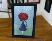 Modern Miniature Dolls House  Painting, Lady with the red umbrella framed Picture