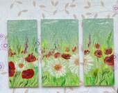 Dollhouse  Miniature wildflower painting Triptych Style Original Modern Dollhouse Art