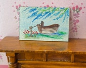 Wisteria River Landscape   Dolls House Original Painting