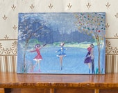 Miniature Dollhouse Art. Ice skating In the Park original  painting