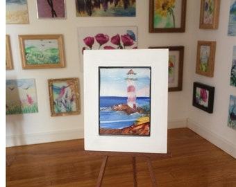Lighthouse Seascape framed Dolls House original art DollHouse by miniature artist Hazel Rayfield