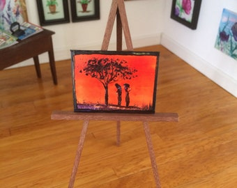 Dolls House painting miniature original art ladies at sunset Africa style  landscape  shown here in my 1:12 art gallery