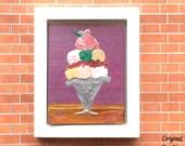 Strawberry sundae ice cream modern miniature dolls house painting original unique art