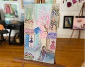 Miniature Shop Street Scene  Landscape Painting Dollhouse Art 1:12th