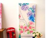 Shabby chic Paris Panel Blossom DollHouse modern Miniature Painting canvas style original miniature art