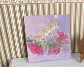 Dollhouse Crown of roses modern  miniature painting. Shabby chic roses and a beautiful crown.