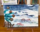 Dollhouse miniature winter landscape painting pine cones