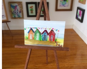 Beach Huts with bunting Dolls House Painting Original Unique Art in Miniature for your Dollhouse  beach huts painting