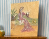 DollHouse Miniature Painting Period style lady on a chaise  original miniature art