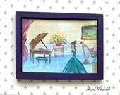 Music Room Miniature Painting,  Original Art in a handmade frame 4 x 3 inches