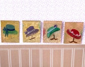 Hats Miniature Dolls House Painting haberdashery shop Original Miniature Art