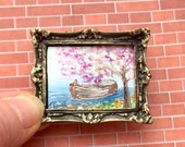 DollHouse  River Boat Original Art Miniature Painting By Hazel Rayfield