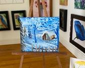 Dolls House Winter Landscape Painting miniature art by miniature artist hazel rayfield
