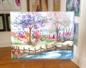 Miniature DollHouse  Art Spring landscape Original Art In Wax