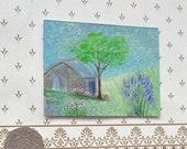 Lavender Cottage Landscape Dollhouse Miniature Art