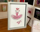 Modern miniature ballet Pink tutu and shoes  painting. Original miniature Ballet art original