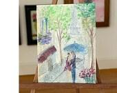 Miniature cafe De Paris Landscape Painting Dollhouse Art 1:12th