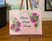 Miniature Home sweet home Dolls house pink roses  Painting