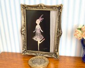 Flapper Dancing Girl Painting- Miniature Dollhouse framed painting