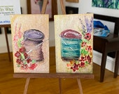 Cotton Reels  dollhouse shabby chic paintings original miniature art by miniaturist Hazel Rayfield