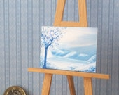Miniature DollS House  Art Picture winter landscape Original Art In Wax