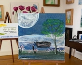 Dolls House moonlight  Landscape,  Miniature Art Dolls House Picture