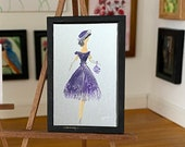 Dollhouse fashion lady painting, A Retro style   Original Miniature ArtPainting