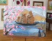 Eastern Landscape Sailing Junk Cherry Blossom ACEO Painting Original Miniature Art