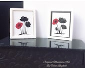Modern Dollhouse tiny Miniature Framed Original Paintings set of two red poppy art