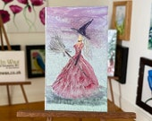 Dollhouse witch dressed in pink painting