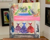 Boutique Miniature Dollhouse Painting Dress Shop Art
