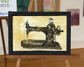 Dolls house sewing machine painting. Vintage style miniature sewing room painting