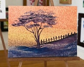 Sunset Landscape Tree  Painting Miniature Dolls House Picture Original Art In Wax