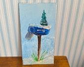 Miniature modern dollhouse art. Christmas winter  mailbox