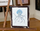 Dolls House Octopus Painting rustic frame